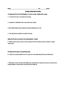 Sample and Survey Formative Assessment - Statistics