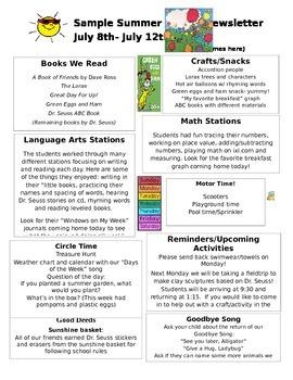 Sample newsletter for parents