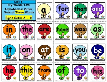 Sample of Alphabetical Order Featuring Fry Words: List 1-100 Three Word Sort