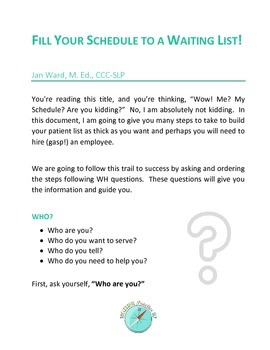Sample of Fill Your Schedule To A Waiting List: Private Practice