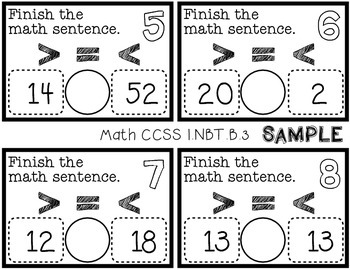 Sample of First Grade 2 Digit Comparison Task Cards