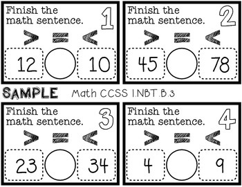 Sample of First Grade 2 Digit Comparison Task Cards