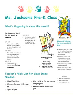 Sample of Newsletter for Pre-K - 2nd Grade
