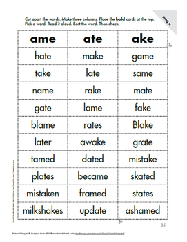 Sample of One Page Differentiated Word Sorts K-3 short & long vowels, affixes
