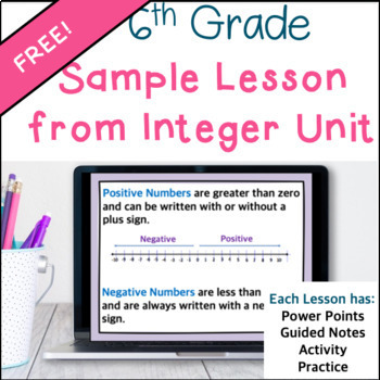 Sample of a 6th Grade Math Lesson on Integers