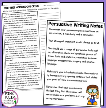 Sample Persuasive Pieces - 3 examples including persuasive tools and notes.