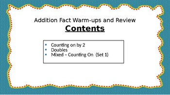 Sampler Addition Facts Warm-ups and Review