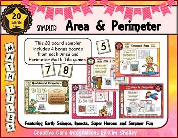 Sampler Area and Perimeter Math Tile Games FREEBIE
