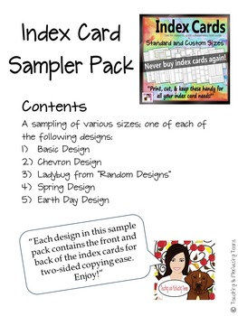 Sampler Pack Freebie: Preview of Index Card Bundle - for Research, Task Cards ..