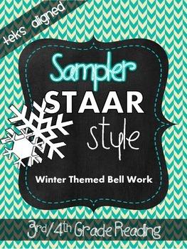 Sampler STAAR Style Winter Bell Work (TEKS Aligned) 3rd/4th Grade