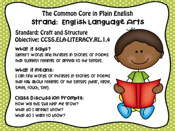 FREEBIE!  Common Core in Plain English: 1st Grade Reading ELA Sampler