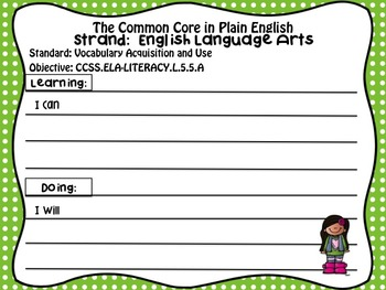 FREEBIE!  Common Core in Plain English: 5th Grade Reading - ELA Sampler