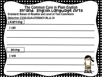FREEBIE!  Common Core in Plain English: 6th Grade Reading - ELA Sampler