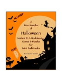 Sampler of Halloween Math & ELA Worksheets, Games & Puzzle
