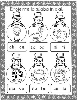 FREEBIE Winter Spanish Literacy Centers:  No Prep SAMPLER