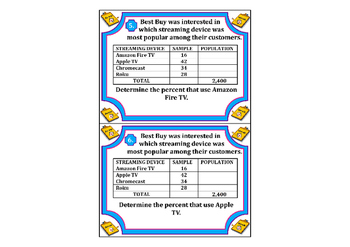 Samples & Populations Task Cards