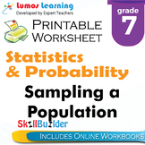 Sampling a Population Printable Worksheet, Grade 7