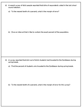 Sampling and Margin of Error Quiz (Algebra II Unit 7)