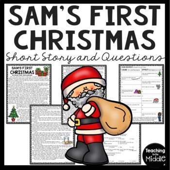 Sam's First Christmas multiple choice questions, cause/effect, writing task