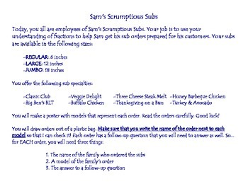 Sam's Scrumptious Subs - Adding and Subtracting Fractions and Mixed Numbers