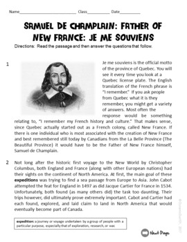 Samuel De Champlain ELA Informational Text Test Prep Passage (English & French)