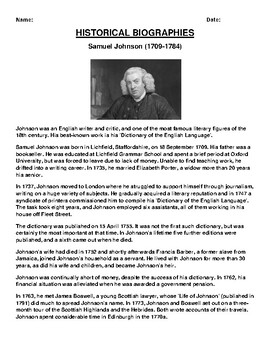 Samuel Johnson Biography Article and (3) Assignments