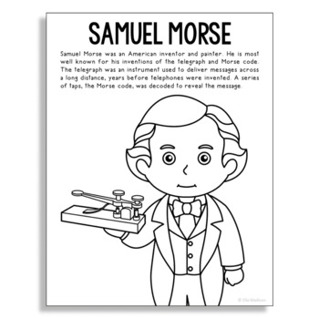 Samuel Morse Inventor Coloring Page Craft Or Poster Stem Technology History