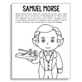 SAMUEL MORSE Inventor Coloring Page Craft or Poster, STEM Technology History