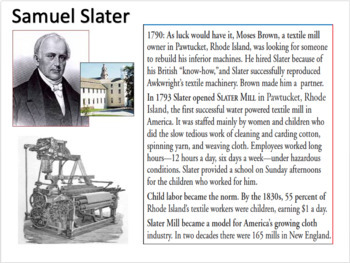 Samuel Slater Activity - Common Core Aligned Activity