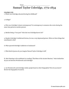 Samuel Taylor Coleridge Questions