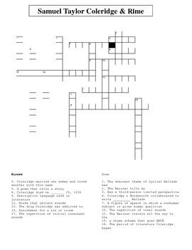 Samuel Taylor Coleridge & Rime of the Ancient Mariner Crossword Puzzle