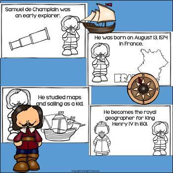 Samuel de Champlain Mini Book for Early Readers: Early Explorers