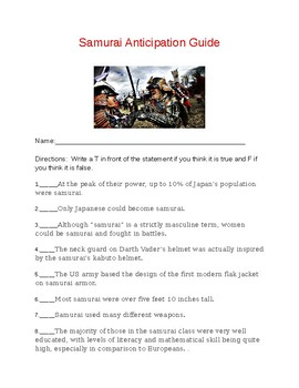 Samurai Anticipation Guide