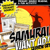 Medieval Japan Samurai CCS Reading & Want Ad, Primary Source Activity