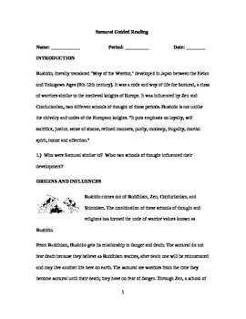 Samurai Guided Reading Handout, Activity.  History 101