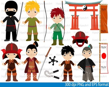 Samurai Warrior Karate Clip Art Teachers Ninja Japan halloween Kawaii hero -095-