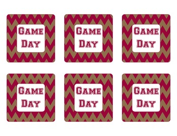 San Francisco 49ers Inspired Gold and Scarlet Chevron Calendar Pieces-Editable