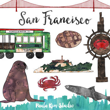 San Franscisco Clip Art Watercolor