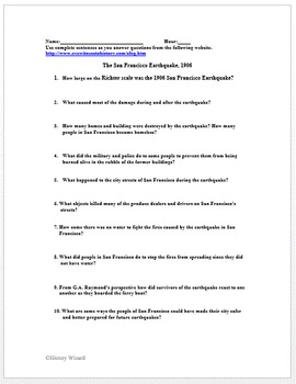 San Francisco Earthquake of 1906 Primary Source Worksheet
