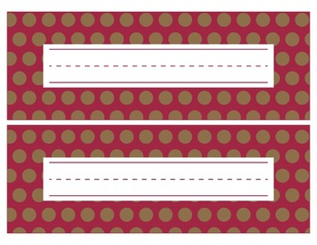 San Francisco 49ers Inspired Red and Gold Editable Name Plates/Word Wall