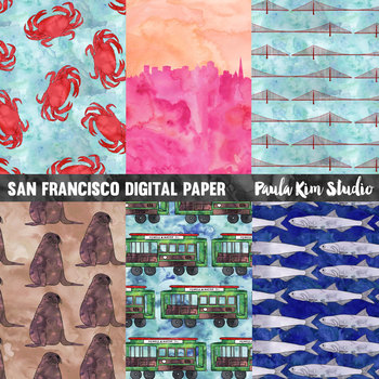 San Francisco Watercolor Digital Paper