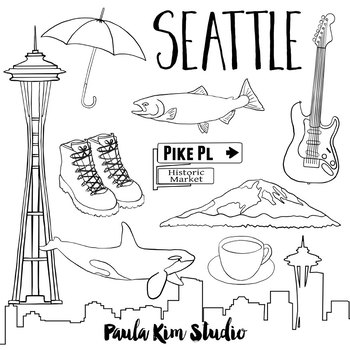 Seattle Clip Art Watercolor