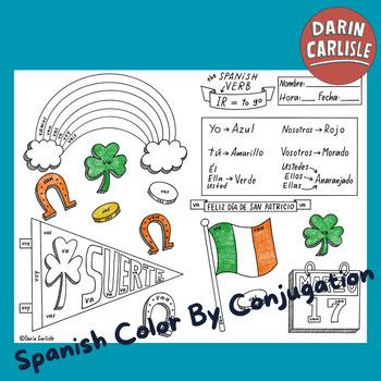 San Patricio ~Color by verb conjugation ~Saint Patrick's D