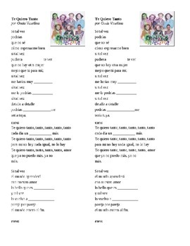 San Valentin : 2 songs w/cloze, Vocab for letter writing