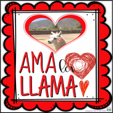 San Valentín:  Ama La Llama #1 . . . 4 Mini Llama Posters and 4 Blank Cards