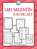 San Valentin Fun packet Spanish Pasatiempos