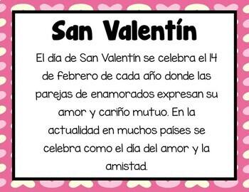 San Valentin (Hojas de trabajos) | Spanish Valentine's (Worksheet)