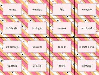 Spanish Valentine Themed Memory / San Valentin Memoria - Sinonimos