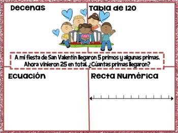 San Valentín-Problemas de Matemáticas con Sumando Faltante 10 en 10