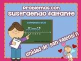 San Valentín-Problemas de Matemáticas con Sustraendo Faltante 1-20